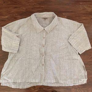 Flax Linen Button Front Blouse Top Women Sz 1G